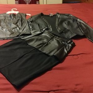 Dresses & Skirts - Faux leather outfit. skirt, vest and jacket.